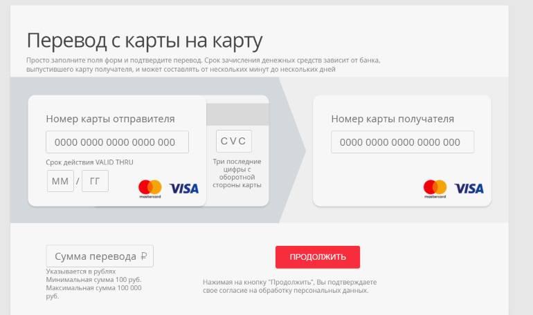 Перевод с карты ВТБ на карту Сбербанка